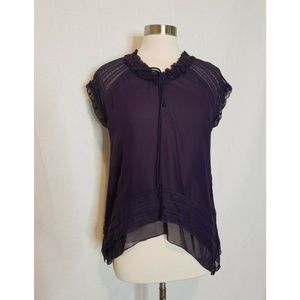 Sundance Blouse 100% Silk Purple Short Sleeve